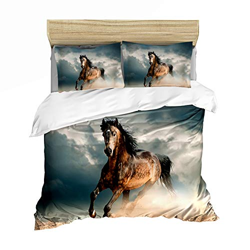 Parure de lit avec housse de couette en 3D Motif chevaux animaux, motif animal (A04, King Size 220 x 240 cm)