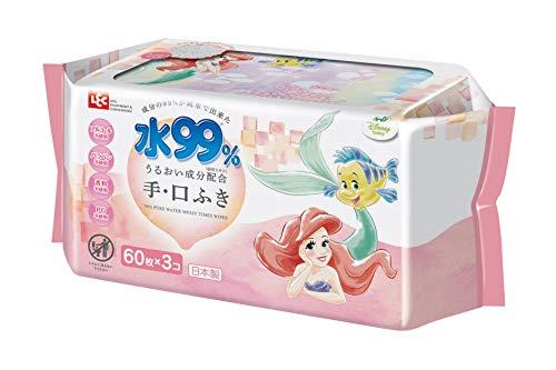 レックディズニー プリンセス アリエル 水99%おでかけ手 口ふき 1パック 60枚×3個 レック