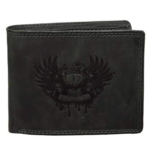 Skull Vintage Leder Geldbeutel Portemonnaie mit Totenkopf Herren Biker Brieftasche (schwarz)