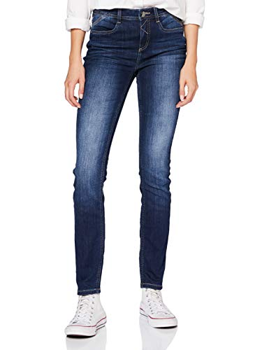 Street One Damen 373360 Denim Style York Slim Fit High Waist Jeans, Blue Stone Washed, W30/L30