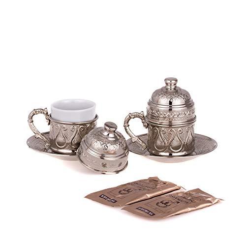 Kupfer Kaffeetassen Set für 2 Person -Espressotassen- Kaffeeset-Mokkatassen - Spezielle türkische Kaffe/Mokka tassen - Orientalische Kaffeetasse (Modell1)