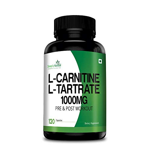 Simply Herbal L-Carnitine With L Tartrate 1000mg Per Serving (Double Strength Formula) for Pre & Post Workout – 120 Capsules (1)