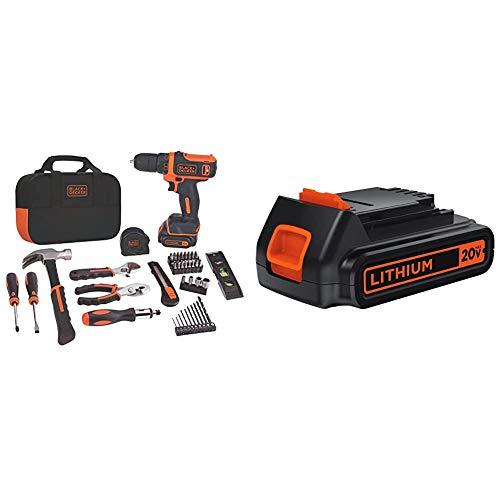 BLACK+DECKER 12V MAX Drill & Home Tool Kit, 60-Piece with Extra 1.5-Ah Lithium Battery (BDCDD12PK & LBXR20)