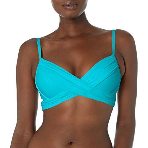 La Blanca Women's Island Goddess Wrap Underwire Push Up Bikini Swimsuit Top, Poolside, 6