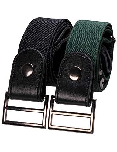 RBOCOTT 2 Pacchi Cintura Senza Fibba Nero Verde scuro Cintura Elastica Uomo Cintura Invisibile Donna Pantaloni dei Jeans