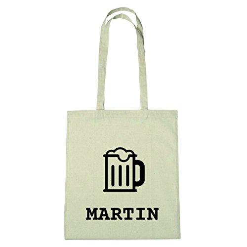 JOllify Baumwolltasche - Happy Birthday für MARTIN - Bier Gruß
