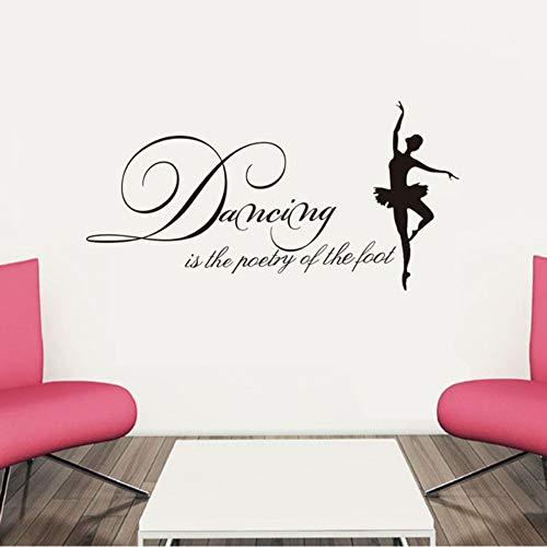 Cmhai Dancing is de poëzie van de voet Vinyl Art muursticker Ballerina muurstickers voor kinderen kamer moderne huisdecoratie maat 86 * 44Cm