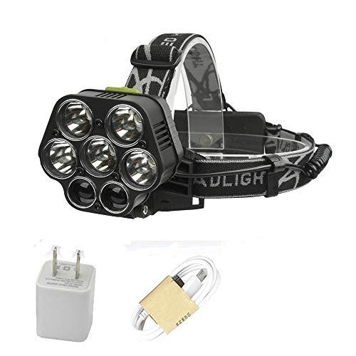 Linterna LED de cabeza recargable USB 5*t6 7 Led de la cabeza de la lámpara 40000 lúmenes led linterna
