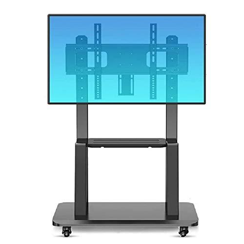 Soporte de Suelo para TV para Sala de Estar Soporte de plataforma plegable con 2 estantes Soporte telescópico de TV para 32 '- 65' Alturas de soporte inclinable de 65 'Tienen 105 kgs, SOPORTE SOLAMENT