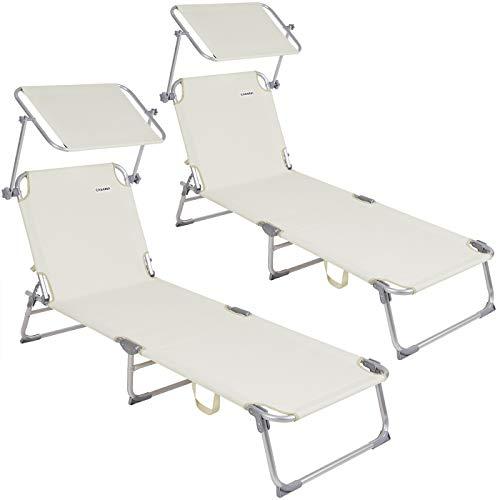 Casaria 2X Sillas largas Ibiza Plegable con Visera de poliéster Color Crema fácil de Transportar Playa Exterior jardín