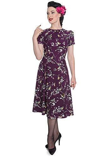 Hell Bunny Birdy 40er 50er Jahre Pin Up Vintage Stil Kleid (2XL (EU 44), Lila)