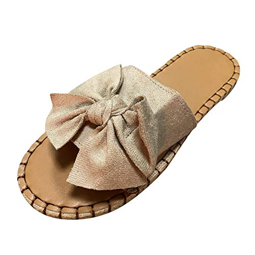 Damen Casual Hausschuhe mit Bogen Open Toe Sandals, Women Outdoor Sandals Slippers Sandalen Sommer Slippers Sandaletten Sommerschuhe Strandsandalen Schuhe Sandaletten (Beige, 42)