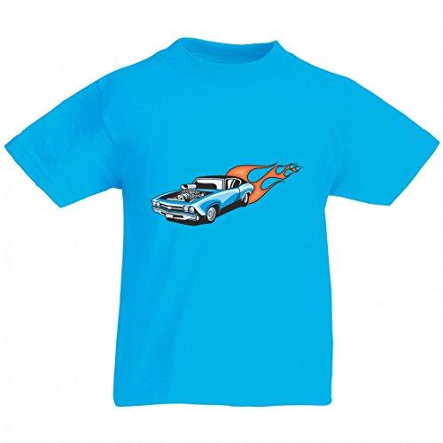 Camiseta azul para coche deportivo Motor V8 con fuego Amy Estados Unidos Auto Car Ampliación V8 V12 Motor Llanta Tuning Mustang Cobra para hombre mujer niños 104 – 5 x l azul Para Hombre Talla : X-Large
