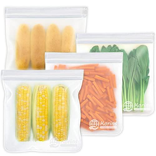 Bolsas Grandes de Silicona Reutilizables, 4 Piezas de Bolsas Reutilizables para Congelar Alimentos, Bolsas de Almacenamiento Reutilizables para Frutas, Verduras, Carne, Sin BPA
