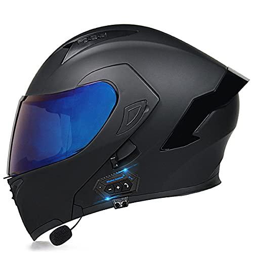 YALIXING Casco de Moto Modular Bluetooth con HD Doble Visera Cascos de Motocicleta Prueba de Viento Cascos integrales ECE Homologado para Adultos Hombres Mujeres(Size:M(57-58CM),Color:GRAMO)