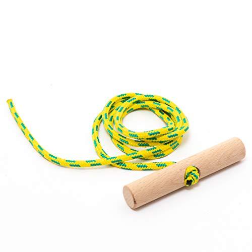 Holzfee Schlitten-Leine 135 cm Gelb Grün mit Buchenholz-Griff