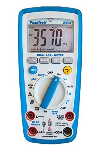 PeakTech 2180 – Multímetro digital con medidor LCR, resistencia, capacitancia, inductancia, 6000 cuentas, rango automático, amperímetro, probador de continuidad pantalla LCD iluminada - CAT III 1000 (Herramientas y hardware)