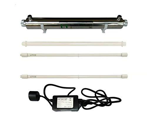 Realgoal 25W UV agua desinfeccion sistema de acero inoxidable 304 UV esterilizador, 6GPM ultra violeta filtro de agua, LED & sonido de lastre alarmante, anadir extra 1 pieza de lampara UV