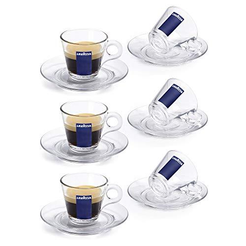 Lavazza Trasparenza Espressotassen und Untertassen aus Glas, transparent, 85 ml, 3 Sets - 6 Cups & Saucers