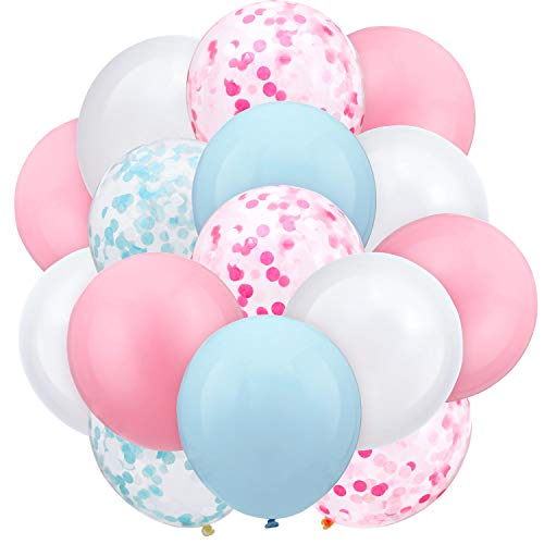 60 Pieces 12 Inch Gender Reveal Pink Blue Balloons Confetti Balloons Pastel Balloons for Wedding Baby Shower Birthday Party Supplies