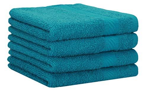 Betz 4 Stück Duschtücher Set Palermo Größe 70x140 cm 100% Baumwolle Badetuch Duschhandtuch Sporthandtuch Farbe Petrol
