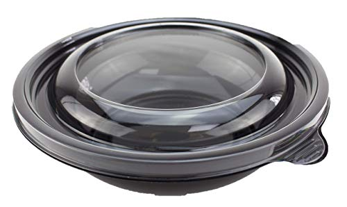 Round Black Salad Bowl with Lid - 750ml - Pack of 20 Takeaway Containers with Lids Ideal for Pasta Bowls, Healthy Lunches, and to-Go Bowls for Food Serving Businesses - Hand Washable and Reusable