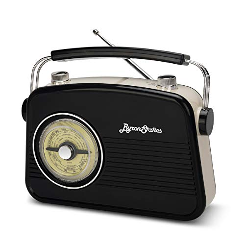 Byron Statics Portable Radio AM FM, Vintage Retro Radio with Built in Speakers, Best Reception and Longest Lasting, Power Plug or 1.5V AA Battery (Black)