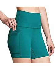Vrouwen Yoga Shorts met zakken,Dames Workout Leggings Hoge Taille Fitness Sport Running Broek Yoga Korte Broek