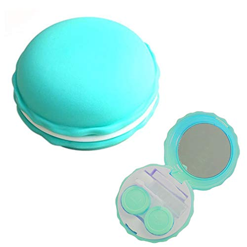 Green Contact Lens Case Kit with Insert Mirror Macaron Travel Contact Lens Box Holder Container Soak Storage Kit Travel Home