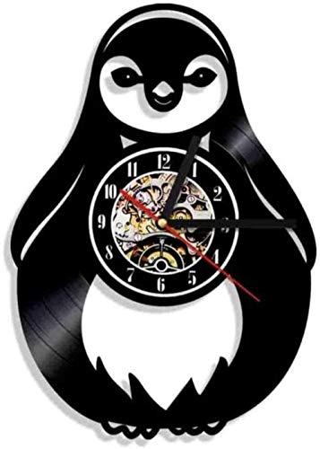 KDBWYC Reloj de Pared de pingüino Polo Norte Animal Reloj de Pared de Vinilo Regalo Niños Animal Nursey Arte de la Pared Decoración Regalo de la Vendimia