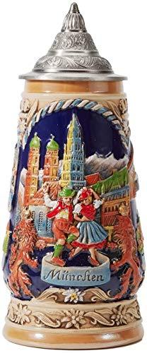 RENFEIYUAN Cerveza Stein Alemania Cerveza Stein Cerámica Cerámica Taza Hecho A Mano Copa Tankard Petwer Lid Lid Bavarian Beer Carnival Relief Regalos Souvenirs Giftbox 0.9 Litro Jarra de Cerve