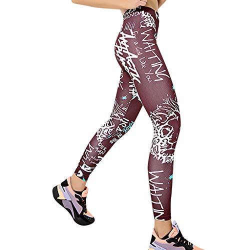 hahashop2 Laufhose Damen Lang Sportleggings Yoga-Hose Leggins Stretch Hose Tight Hose für Yoga Sports und Laufen Bedruckte Yoga-Hüftgamaschen mit hoher Taille