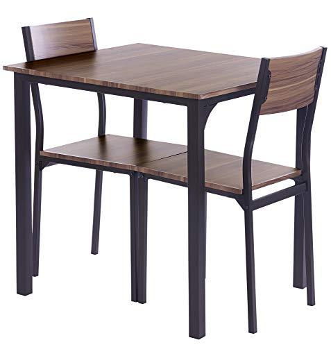 ts-ideen 3-teiliges Set Essgruppe Tisch 2 Stühle Küche Esstisch Frühstückstisch Braun Holz Metall