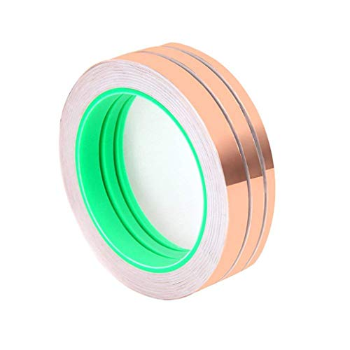 Wolfride 3 Pack Copper Foil Tape for Stained Glass 3 Sizes Copper Foil Tape with Double-Sided Conductive for Grounding, Soldering, EMI Shielding, Electrical Repairs (6mm/8mmm/10mm x 27.5 Yard)
