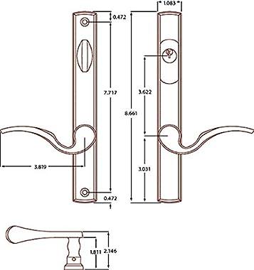 Solid Brass Keyed Entry Multipoint Trim Set door hardware in Lifetime Brass Finish- Durable hardware door locks, door handles