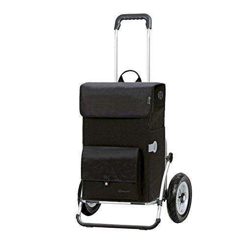 Andersen Einkaufstrolley Royal XXL klappbar mit luftbereiftem Kugellagerrad 25 cm und 45 Liter Einkaufstasche Asta schwarz mit Kühlfach