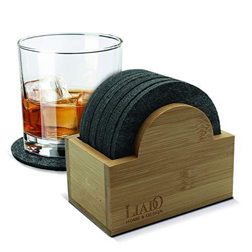 Liado Filz Untersetzer für Gläser | 10x Runde Filzuntersetzer | Edles Design | Dunkelgraue Untersetzer | Tischuntersetzer für Gläser, Tassen, Flaschen etc.
