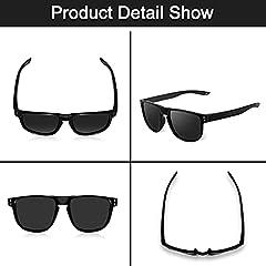 CHEREEKI Mens Polarised Sunglasses, Polarized Sunglasses for Men Women with UV400 Protection and Ultralight Frame (Black) #1