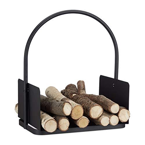 Relaxdays Kaminholzkorb schwarz, Brennholzkorb groß, Holzwiege Kamin, Feuerholzkorb Metall, HxBxT 47 x 40 x 30 cm, black