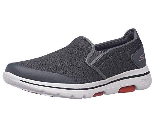 Skechers Men's GOwalk 5 - Elastic Stretch Athletic Slip-On Casual Loafer Walking Shoe Sneaker, Charcoal, 11 X-Wide
