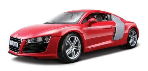 Maisto Audi R8, Modellauto mit Federung, Maßstab 1:18, Türen und Motorhaube beweglich, Fertigmodell, lenkbar, 24 cm, rot (536143)