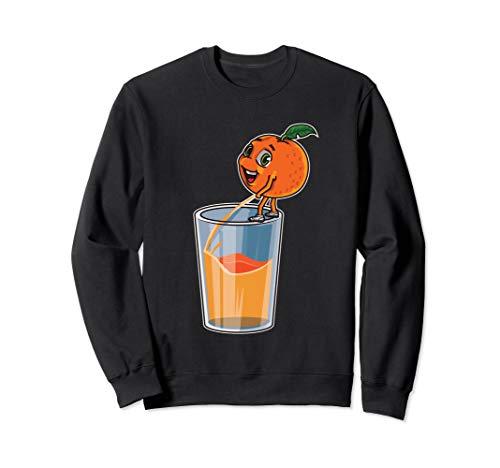 Orange pinkelt in ein Glas | Frischer Orangensaft Sweatshirt