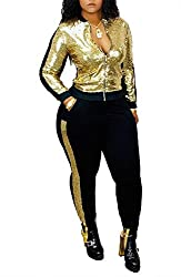 5148-Gold Long Sleeve Top+Metallic Shiny Pants Jumpsuit