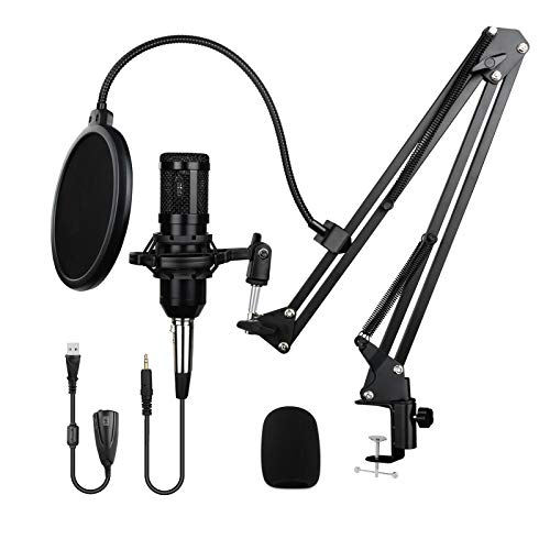 USB Condenser Microphone Kit professional 192KHZ/24BIT Plug & Play with sound card Boom Arm Shock Mount Pop Filter, for PC Recording Podcasting Karaoke Gaming Streaming YouTube