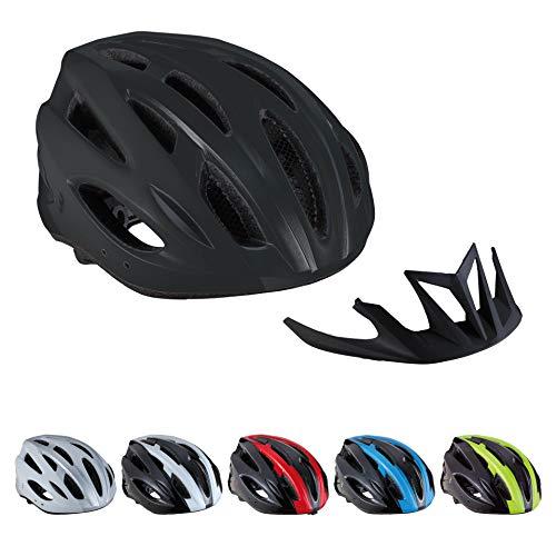 BBB Cycling Unisex-Adult Fahrradhelm Condor | Damen und Herren | Abnehmbaren Visier und Insektenschutznetz | MTB und Rennrad | BHE-35 Schwarz M (54-58 cm), matt black