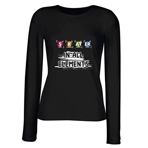 lepni.me Vrouwelijke lange mouwen T-shirt skater in alle elementen Chemie Periodensystem Sport
