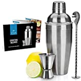 Zulay Kitchen Professional Cocktail Shaker with Accessories - Sleek Martini Shaker with Measuring