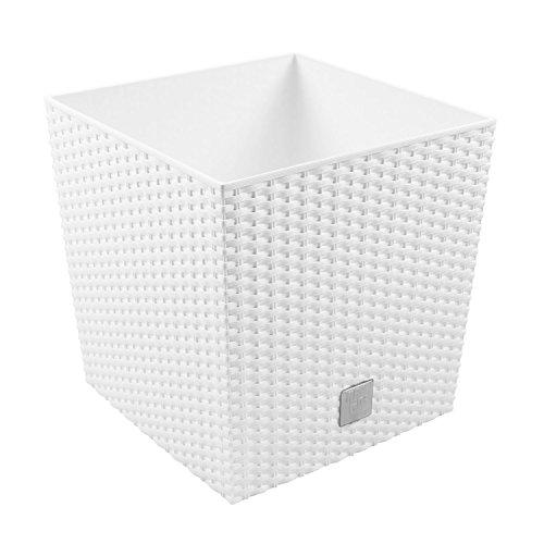 64L Blumentopf Pflanzkübel inkl. Einsatz quadratisch in Rattan-Optik Kunststoff H 40,5 cm weiss