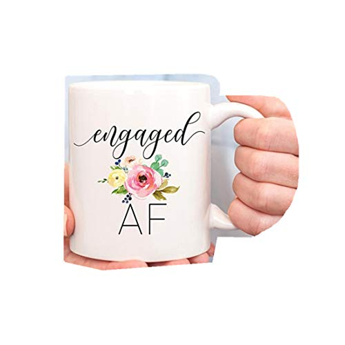 Taza con texto en inglés «Engaged AF», regalo de compromiso, regalo para novia, novia a ser, novia para ser novia, comprometida, futura señora, mejor amiga