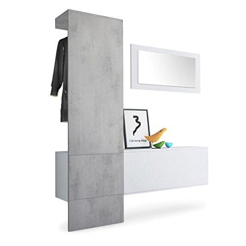 Vladon Garderobe Wandgarderobe Carlton Set 4, Korpus in Weiß matt/Paneel in Beton Oxid Optik
